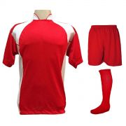 Uniforme Esportivo com 14 camisas modelo Suécia Vermelho/Branco + 14 calções modelo Madrid Vermelho + 14 pares de meiões Vermelho