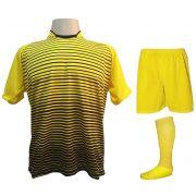 Uniforme Esportivo com 18 camisas modelo City Amarelo/Preto + 18 calções modelo Madrid Amarelo + 18 pares de meiões Amarelo