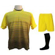 Uniforme Esportivo com 18 camisas modelo City Amarelo/Preto + 18 calções modelo Madrid Amarelo + 18 pares de meiões Preto