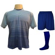 Uniforme Esportivo com 18 camisas modelo City Celeste/Royal + 18 calções modelo Madrid Royal + 18 pares de meiões Royal