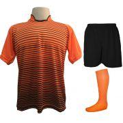 Uniforme Esportivo com 18 camisas modelo City Laranja/Preto + 18 calções modelo Madrid Preto + 18 pares de meiões Laranja