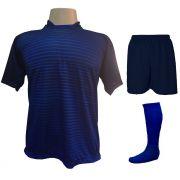 Uniforme Esportivo com 18 camisas modelo City Marinho/Royal + 18 calções modelo Madrid Marinho + 18 pares de meiões Royal