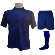 Uniforme Esportivo com 18 camisas modelo City Marinho/Royal + 18 calções modelo Madrid Royal + 18 pares de meiões Royal