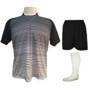 Uniforme Esportivo com 18 camisas modelo City Preto/Branco + 18 calções modelo Madrid Preto + 18 pares de meiões Branco
