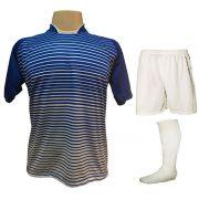 Uniforme Esportivo com 18 camisas modelo City Royal/Branco + 18 calções modelo Madrid Branco + 18 pares de meiões Branco