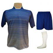Uniforme Esportivo com 18 camisas modelo City Royal/Branco + 18 calções modelo Madrid Royal + 18 pares de meiões Branco