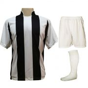 Uniforme Esportivo com 18 camisas modelo Milan Branco/Preto + 18 calções modelo Madrid Branco + 18 pares de meiões Branco