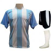Uniforme Esportivo com 18 camisas modelo Milan Celeste/Branco + 18 calções modelo Copa Preto/Branco + 18 pares de meiões Branco