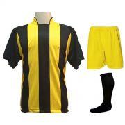 Uniforme Esportivo com 18 camisas modelo Milan Preto/Amarelo + 18 calções modelo Madrid Amarelo + 18 pares de meiões Preto
