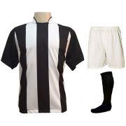 Uniforme Esportivo com 18 camisas modelo Milan Preto/Branco + 18 calções modelo Madrid Branco + 18 pares de meiões Preto + Brindes