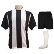 Uniforme Esportivo com 18 camisas modelo Milan Preto/Branco + 18 calções modelo Madrid Preto + 18 pares de meiões Branco