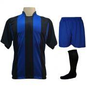 Uniforme Esportivo com 18 camisas modelo Milan Preto/Royal + 18 calções modelo Madrid Royal + 18 pares de meiões Preto