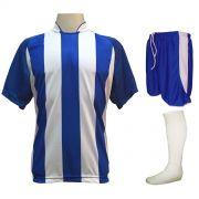 Uniforme Esportivo com 18 camisas modelo Milan Royal/Branco + 18 calções modelo Copa Royal/Branco + 18 pares de meiões Branco