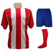 Uniforme Esportivo com 18 camisas modelo Milan Vermelho/Branco + 18 calções modelo Madrid Royal + 18 pares de meiões Vermelho