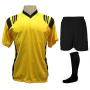 Uniforme Esportivo com 18 camisas modelo Roma Amarelo/Preto + 18 calções modelo Madrid Preto + 18 pares de meiões Preto