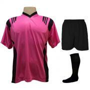 Uniforme Esportivo com 18 camisas modelo Roma Pink/Preto + 18 calções modelo Madrid Preto + 18 pares de meiões Preto