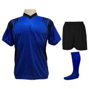 Uniforme Esportivo com 18 camisas modelo Roma Royal/Preto + 18 calções modelo Madrid Preto + 18 pares de meiões Royal