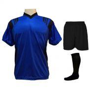 Uniforme Esportivo com 18 camisas modelo Roma Royal/Preto + 18 calções modelo Madrid Preto + 18 pares de meiões Preto