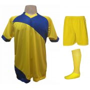Uniforme Esportivo com 20 camisas modelo Bélgica Amarelo/Royal + 20 calções modelo Madrid Amarelo + 20 pares de meiões Amarelo