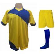 Uniforme Esportivo com 20 camisas modelo Bélgica Amarelo/Royal + 20 calções modelo Madrid Amarelo + 20 pares de meiões Royal