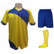 Uniforme Esportivo com 20 camisas modelo Bélgica Amarelo/Royal + 20 calções modelo Madrid Royal + 20 pares de meiões Amarelo