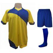 Uniforme Esportivo com 20 camisas modelo Bélgica Amarelo/Royal + 20 calções modelo Madrid Royal + 20 pares de meiões Royal