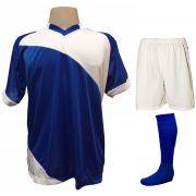 Uniforme Esportivo com 20 camisas modelo Bélgica Royal/Branco + 20 calções modelo Madrid Branco + 20 pares de meiões Royal