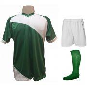Uniforme Esportivo com 20 camisas modelo Bélgica Verde Branco + 20 calções  modelo Madrid Branco 9da9dd1fedabb