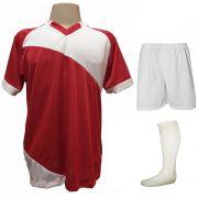 Uniforme Esportivo com 20 camisas modelo Bélgica Vermelho/Branco + 20 calções modelo Madrid Branco+ 20 pares de meiões Branco