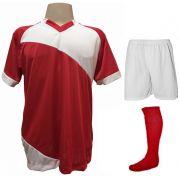 Uniforme Esportivo com 20 camisas modelo Bélgica Vermelho/Branco + 20 calções modelo Madrid Branco+ 20 pares de meiões Vermelho