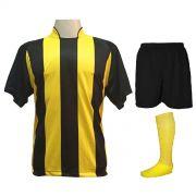 Uniforme Esportivo com 20 camisas modelo Milan Preto/Amarelo + 20 calções modelo Madrid Preto + 20 pares de meiões Amarelo