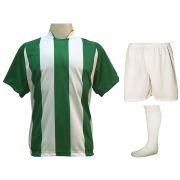 Uniforme Esportivo com 20 camisas modelo Milan Verde/Branco + 20 calções modelo Madrid Branco + 20 pares de meiões Branco