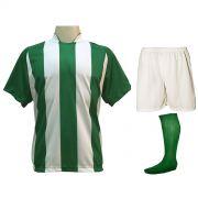 Uniforme Esportivo com 20 camisas modelo Milan Verde/Branco + 20 calções modelo Madrid Branco + 20 pares de meiões Verde