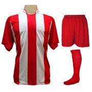 Uniforme Esportivo com 20 camisas modelo Milan Vermelho/Branco + 20 calções modelo Madrid Vermelho + 20 pares de meiões Vermelho