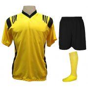Uniforme Esportivo com 20 camisas modelo Roma Amarelo/Preto + 20 calções modelo Madrid Preto + 20 pares de meiões Amarelo