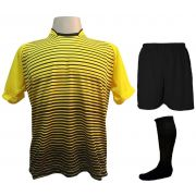 Uniforme Esportivo com 12 Camisas modelo City Amarelo/Preto + 12 Calções modelo Madrid Preto + 12 Pares de meiões Preto