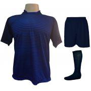 Uniforme Esportivo com 12 Camisas modelo City Marinho/Royal + 12 Calções modelo Madrid Marinho + 12 Pares de meiões Marinho