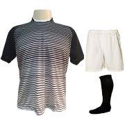 Uniforme Esportivo com 12 Camisas modelo City Preto/Branco + 12 Calções modelo Madrid Branco + 12 Pares de meiões Preto