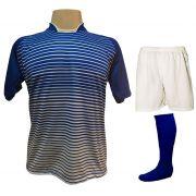 Uniforme Esportivo com 12 Camisas modelo City Royal/Branco + 12 Calções modelo Madrid Branco + 12 Pares de meiões Royal