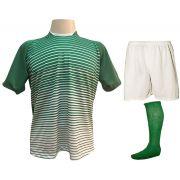 Uniforme Esportivo com 12 Camisas modelo City Verde/Branco + 12 Calções modelo Madrid Branco + 12 Pares de meiões Verde