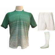 Uniforme Esportivo com 12 Camisas modelo City Verde/Branco + 12 Calções modelo Madrid Branco + 12 pares de meiões Branco