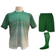 Uniforme Esportivo com 12 camisas modelo City Verde/Branco + 12 Calções modelo Madrid Verde + 12 Pares de meiões Verde