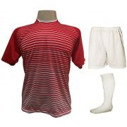 Uniforme Esportivo com 12 Camisas modelo City Vermelho/Branco + 12 Calções modelo Madrid Branco + 12 Pares de meiões Branco