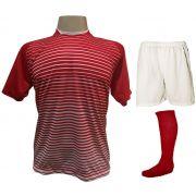 Uniforme Esportivo com 12 Camisas modelo City Vermelho/Branco + 12 Calções modelo Madrid Branco + 12 Pares de meiões Vermelho