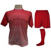 Uniforme Esportivo com 12 Camisas modelo City Vermelho/Branco + 12 Calções modelo Madrid Vermelho + 12 Pares de meiões Vermelho