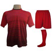 Uniforme Esportivo com 12 Camisas modelo City Vermelho/Preto + 12 Calções modelo Madrid Vermelho + 12 Pares de meiões Vermelho