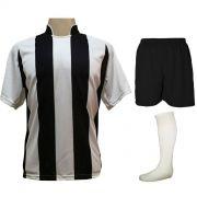 Uniforme Esportivo com 12 Camisas modelo Milan Branco/Preto + 12 Calções modelo Madrid Preto + 12 Pares de meiões Branco