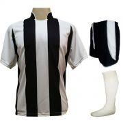 Uniforme Esportivo com 12 Camisas modelo Milan Branco/Preto + 12 Calções modelo Copa Preto/Branco + 12 Pares de meiões Branco