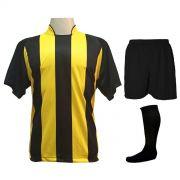 Uniforme Esportivo com 12 Camisas modelo Milan Preto/Amarelo + 12 Calções modelo Madrid Preto + 12 Pares de meiões Preto