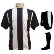 Uniforme Esportivo com 12 Camisas modelo Milan Preto/Branco + 12 Calções modelo Copa Preto/Branco + 12 Pares de meiões Preto